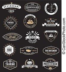 元素, 理念, 食物, 葡萄酒, 設計, 徽章