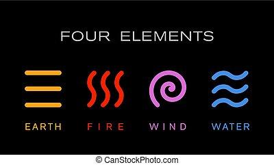 元素, 簡單, 符號。, 四, 矢量, 標識語, 線, template.