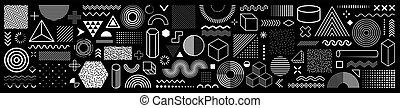 元素, 网, 葡萄酒, 廣告欄, 時髦, sale., 形狀, 裝置設計, 商業, 矢量, 傳單, 孟菲斯, 100, 彙整, 旗幟, 幾何學, retro, 廣告, 海報, shapes., halftone