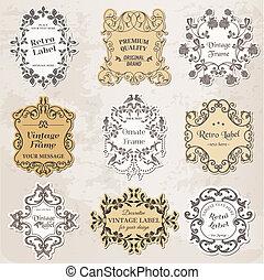 元素, 葡萄酒, -, calligraphic, 裝飾, 框架, 矢量, 設計, 頁, set: