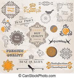 元素, 裝飾, 標簽, 彙整, calligraphic, 矢量, 設計, 葡萄酒, 花, 頁, set: