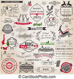 元素, 裝飾, calligraphic, 矢量, 設計, 葡萄酒, 框架, 聖誕節, set:, 頁