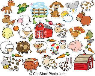 元素, 農場, 矢量, 設計, 動物