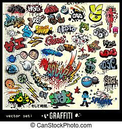元素, graffiti, 集合, 矢量