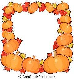 充分的框架, 秋天, 背景, 南瓜, 邊框