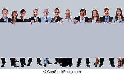 充分, 商業界人士, 很多, 被隔离, 背景。, 長度, 藏品, 空白, 白色, 旗幟, 行