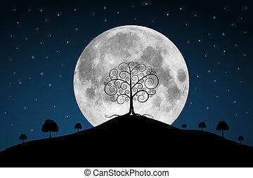 充分, 樹, 月亮, 矢量, 插圖, 星