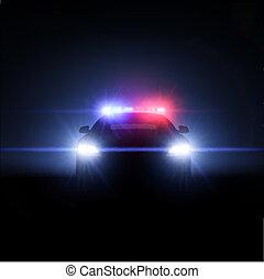充分, 警車, lights., 插圖, 矢量, 矩陣