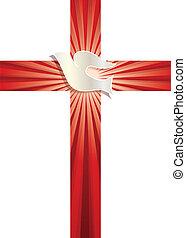 光線, 基督教徒, 鴿, 符號。, 產生雜種, 矢量, 背景, 發光, 宗教, 紅色