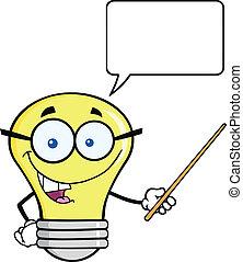 光, 字, 指針, 燈泡