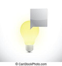 光, 消息, 氣泡, 插圖, 燈泡