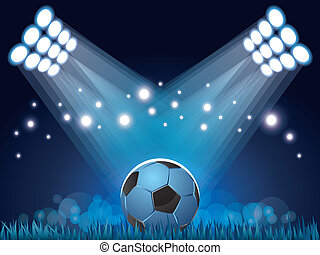 光, 足球, 背景, 體育場
