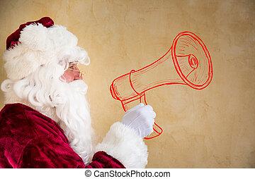 克勞斯, 呼喊, 透過, 聖誕老人, 畫, 擴音器