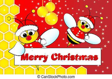 克勞斯, 蜂窩, 蜜蜂, 聖誕老人, 圣誕節卡片