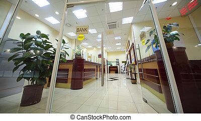 入口, 房間, 辦公室, 區域, 光, 招待會, counter;, 銀行