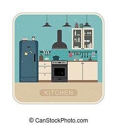 內部, retro, 廚房