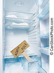 全球, 北方, 徵候。, 霜, 冰箱, 桿, 變暖和