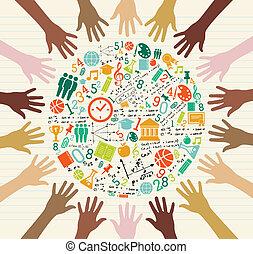 全球, 教育, 人類, hands., 圖象
