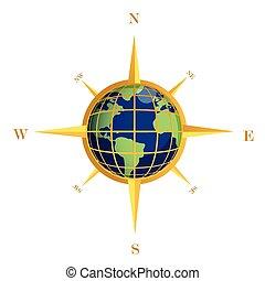 全球, 金, 插圖, 指南針