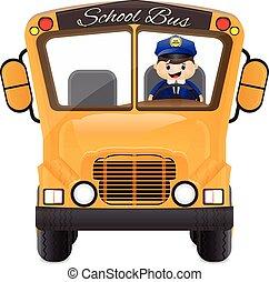 公共汽車, 他的, 駕駛員, 開車