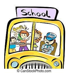 公共汽車, 學校孩子, 插圖, 心不在焉地亂寫亂畫