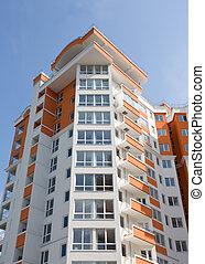 公寓, 現代, 新, 建筑物。