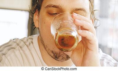 公然反抗, 酒吧, 肥胖, 啤酒, 飲料, pub, 喝酒, 享用, 人