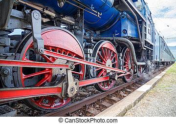 具有歷史意義, 訓練, 細節, 機車, wheels., 蒸汽