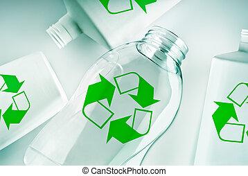 再循環符號, 容器, 塑料