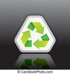 再循環符號, 矢量, 綠色, 插圖