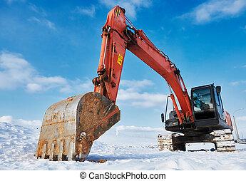 冬天, 挖掘機, 站點, loader, 機器, 建設