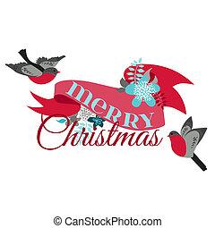 冬天, 裝飾, -, 鳥, 矢量, 設計, 剪貼簿, 圣誕節卡片