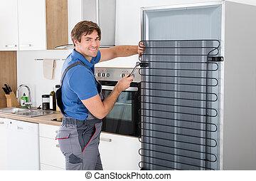 冰箱, 軍人, 工作, 螺絲刀