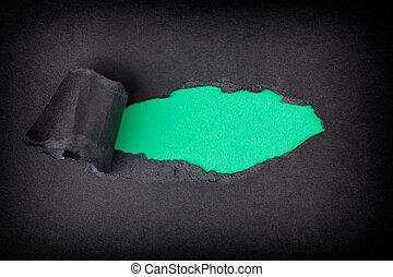 出現, 撕破, 後面, 紙, 綠色的背景, 黑色