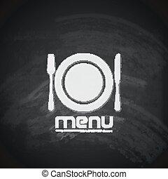 刀, 菜單, 叉子, 盤子, 設計, 葡萄酒, 黑板