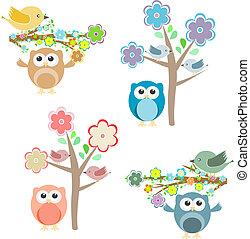 分支, 坐, 樹, 貓頭鷹, 開花, 鳥
