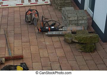 切, 磚, 混凝土, 操練, 機器, 或者