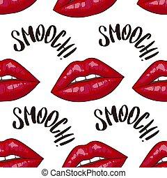 列印, 嘴唇, 矢量, 背景。, seamless