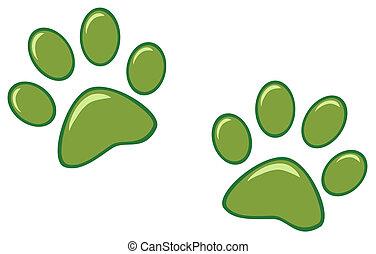 列印, 綠色, 腳爪