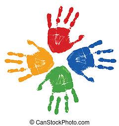 列印, 集合, 鮮艷, 手