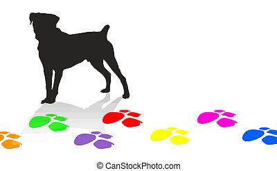 列印, 黑色半面畫像, 狗, 鮮艷, 腳爪