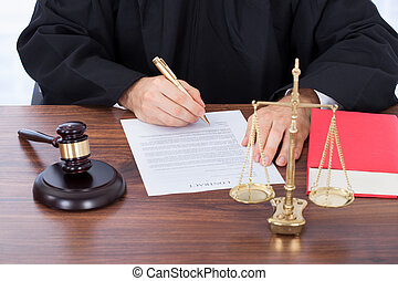 判斷, 簽署, 紙, 合同, 書桌