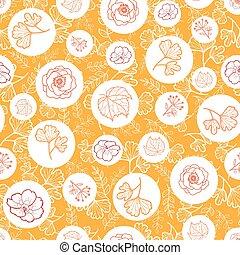 制造, 矢量, 織品, 禮物, 圖案, 或者, 覆蓋, seamless, 印刷品, 橙, flowers., 書, 背景, 秋天, 牆紙, 白色, scrapbooking., 包裹