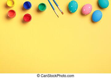 刷子, 背景。, 畫, 復活節蛋, 黃色