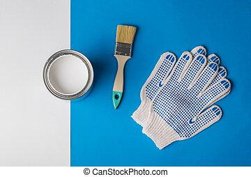 刷子, 藍色, 背景。, 手套, 打開, 白色, 罐頭, 畫