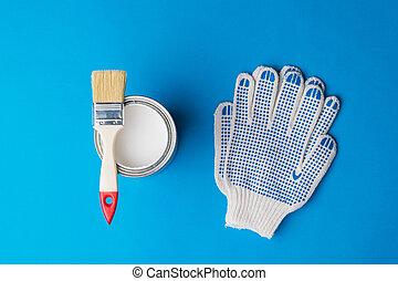 刷子, 藍色, 背景。, 手套, 畫, 打開, 罐頭
