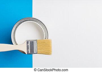 刷子, 藍色, 背景。, 畫, 打開, 罐頭, 白色