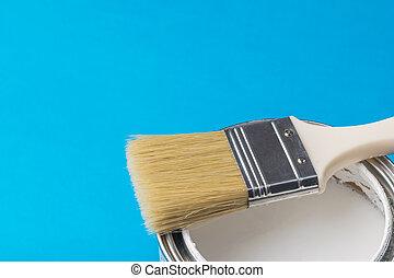 刷子, 長, 藍色, 背景。, 畫, 打開, 鬃毛, 罐頭