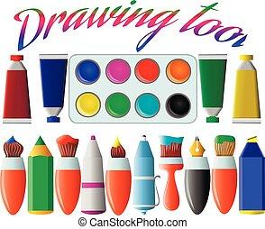 刷子, tools., 集合, illustration., 記號, 畫, 矢量, 背景。, 白色, 鋼筆, 圖畫, 鉛筆