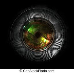 前面, 照像機, dslr, 透鏡, 看法